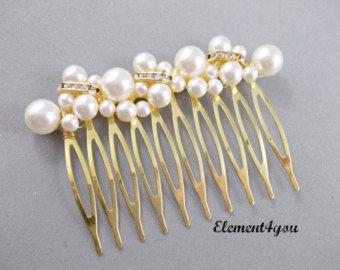Pettine nuziale pezzo di capelli perle Avorio di Element4you
