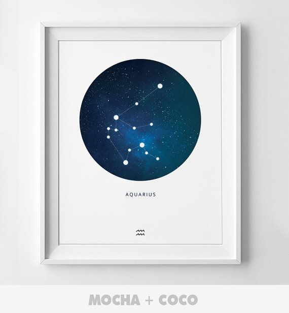 Aquarius Zodiac Constellation Print Personnalized by MochaAndCoco