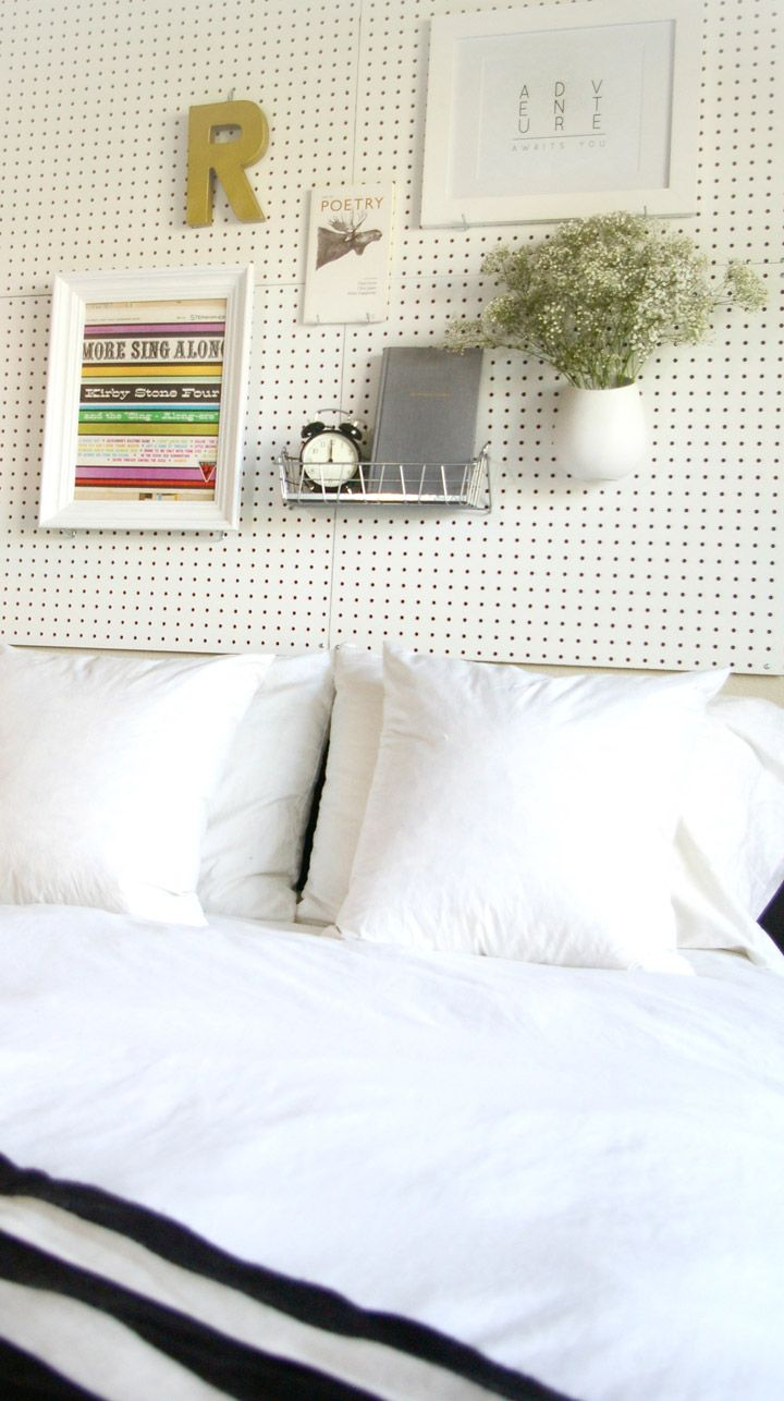 Pegboard Headboard- now you can change Decor without putting 100 holes in the wall*