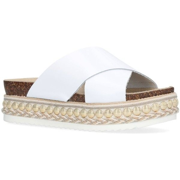 Carvela Kake Platform Slides (2.330 ARS) ❤ liked on Polyvore featuring shoes, studded platform shoes, carvela shoes, embellished shoes, chunky shoes and summer shoes