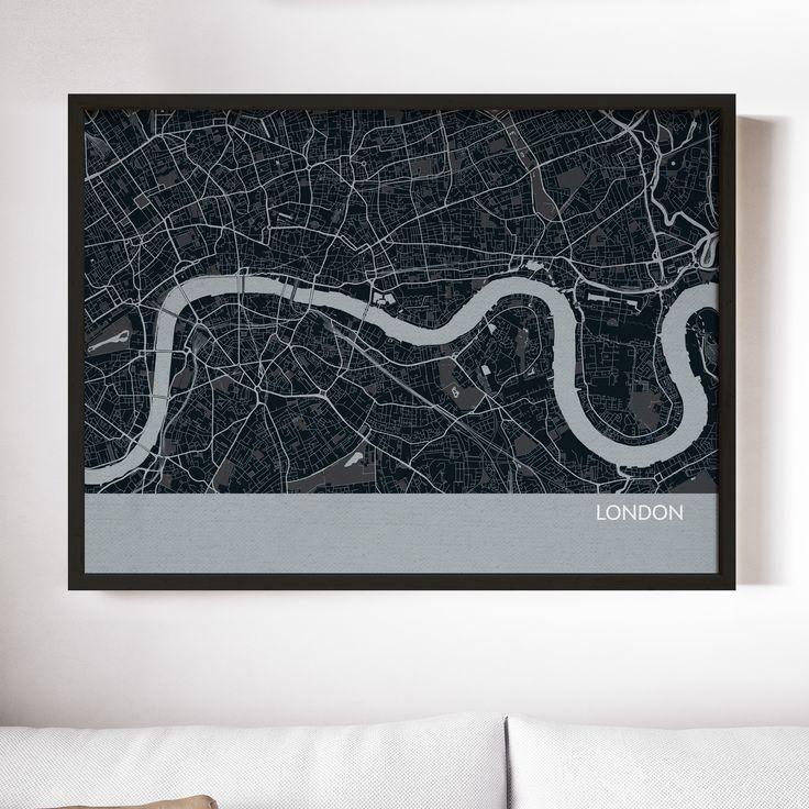 London City Street Map Print Charcoal 34
