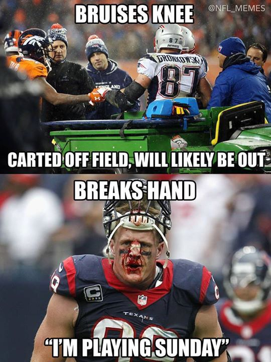 Gronk vs JJ Watt.   This is why JJ is on a Totally different level.