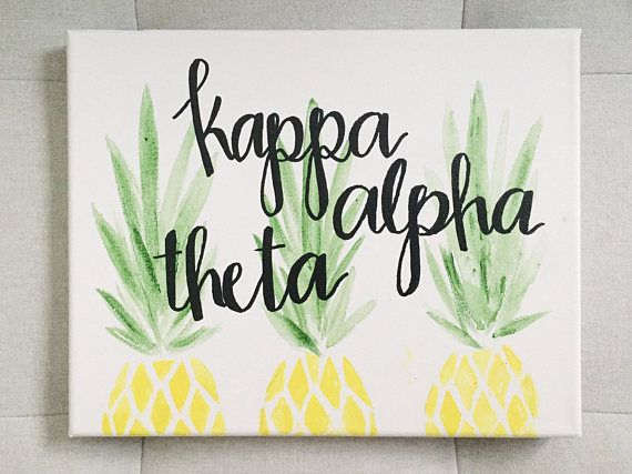 CUSTOM sorority canvas pineapple kappa alpha theta alpha phi