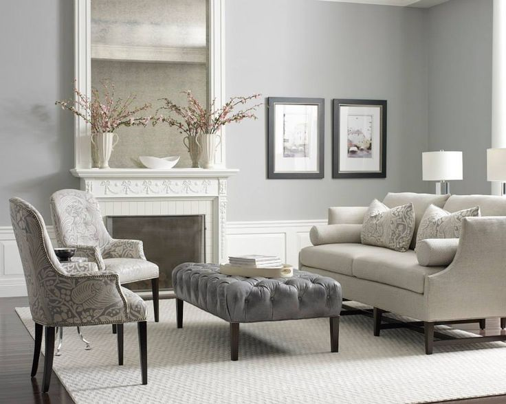 "The ""Katherine"" sofa and new ""Decker"" tufted ottoman."