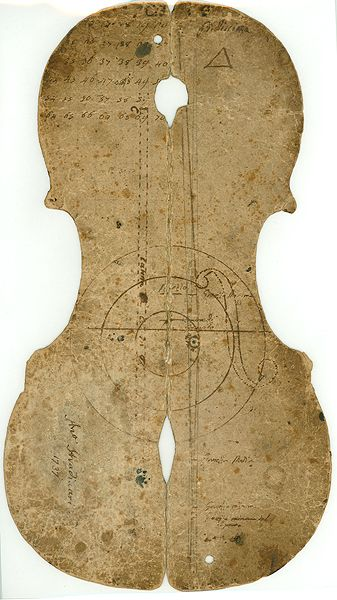 Seventeenth-Century Italian Violin Pattern.  The name of Antonio Stradivari and the date, 1737, both, written on the pattern, Have Been Attributed to the hand of Count Ignazio Alessandro Cozio di Salabue (1744-1840), the Italian collector who obtenues it from Stradivari's son, Paolo.