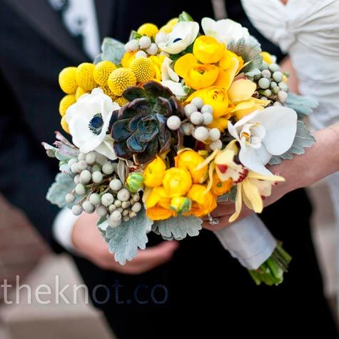 love!  succulents, craspedia, yellow ranunculus, dusty miller, silver brunia, white anemones, white phal. orchids, and yellow cymbidium orchids.  never would have chosen to pair these guys together, but i am oh so in love with the result!