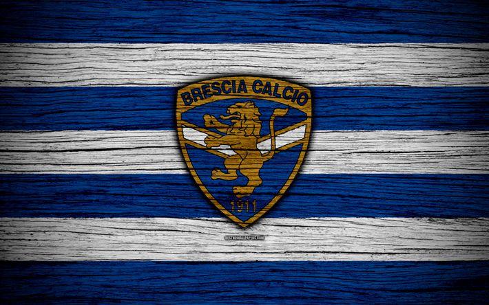 Download wallpapers Brescia Calcio, Serie B, 4k, football, wooden texture, blue white lines, Italian football club, logo, emblem, Brescia, Italy