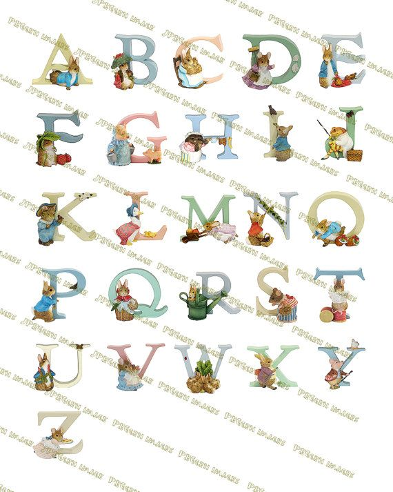 Beatrix Potter Alphabet ABC Alphabet nursery decor by JPEGgen, $3.50