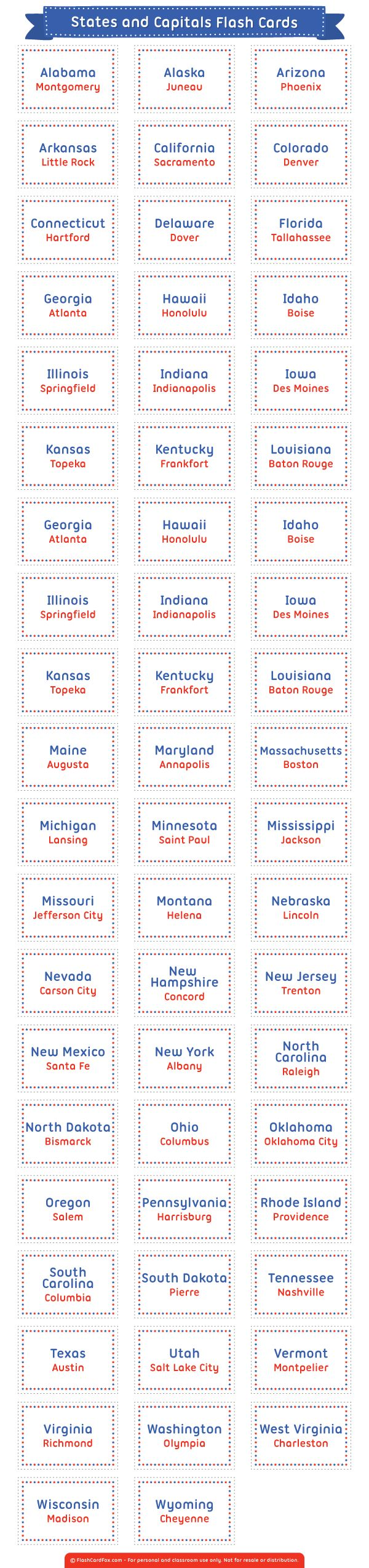 Free printable states and capitals flash cards. Download them in PDF format at http://flashcardfox.com/download/states-and-capitals-flash-cards/