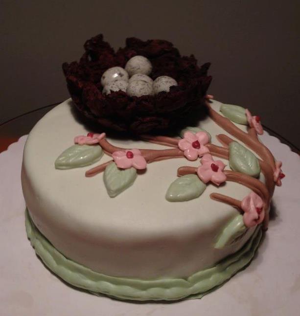 Easter Cake...with chocolate/cormflakes basket.