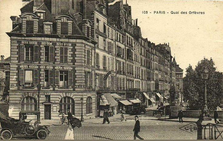 Le quai des Orfèvres vu depuis le Pont-Neuf, vers 1920  (Paris 1er)