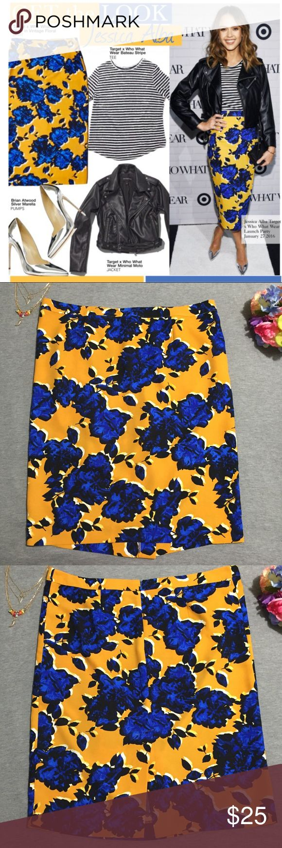 Who What Wear Floral Tailored Skirt for Target This gorgeous bright blue, black and mustard yellow print is the perfect piece for a bold look! A midi skirt with a small slit in the back! Excellent condition, no flaws! Waist: 22 in Hip: 24.5 in Length: 28 in WhoWhatWear Skirts Pencil