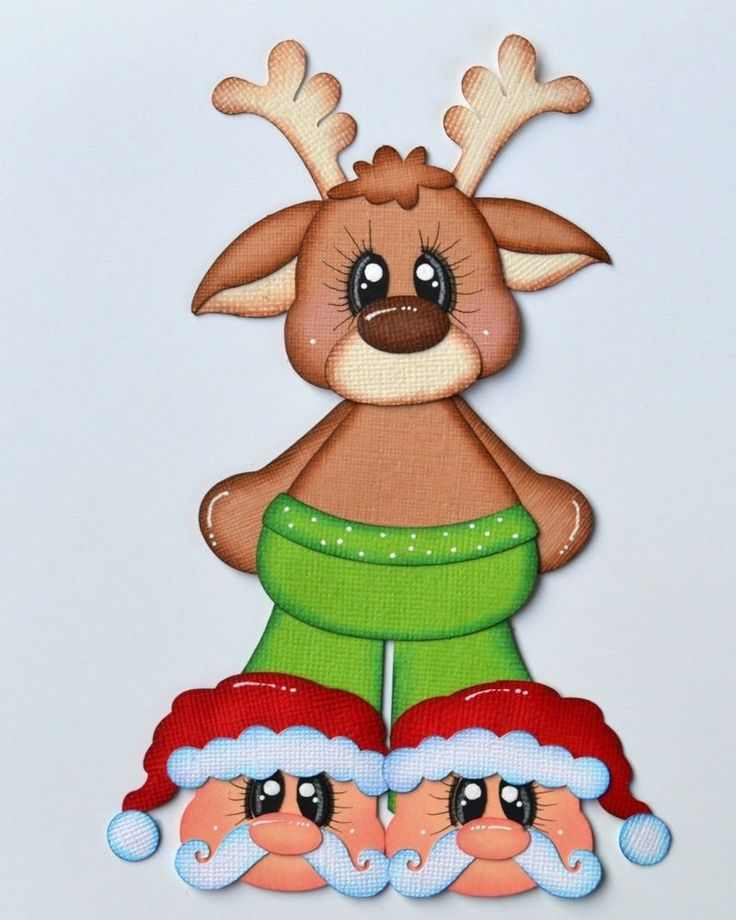 CrafteCafe Paper Piecing Reindeer Red for Premade Scrapbook Page Layout Pajama's