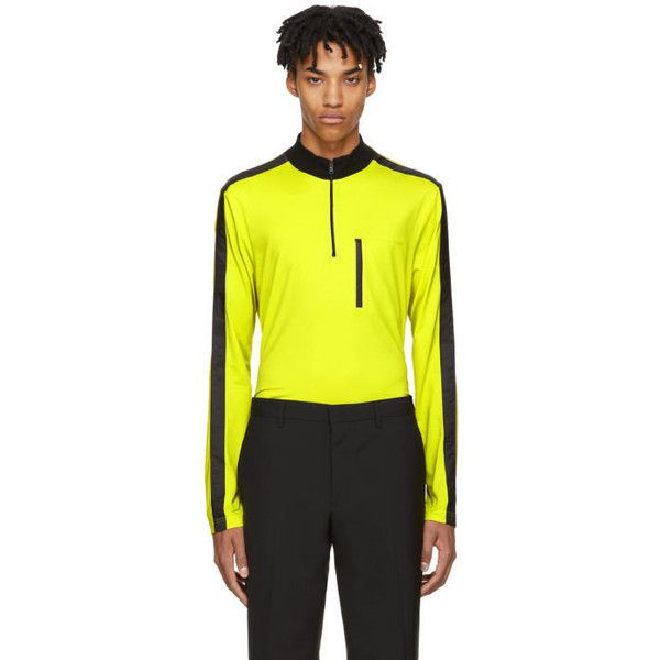 Prada Yellow and Black Tech Zip Turtleneck (7.788.595 IDR) ❤ liked on Polyvore featuring men's fashion, men's clothing, men's sweaters, yellow, mens turtleneck sweater, mens zipper sweater, prada mens sweater, mens zip sweater and mens yellow sweater