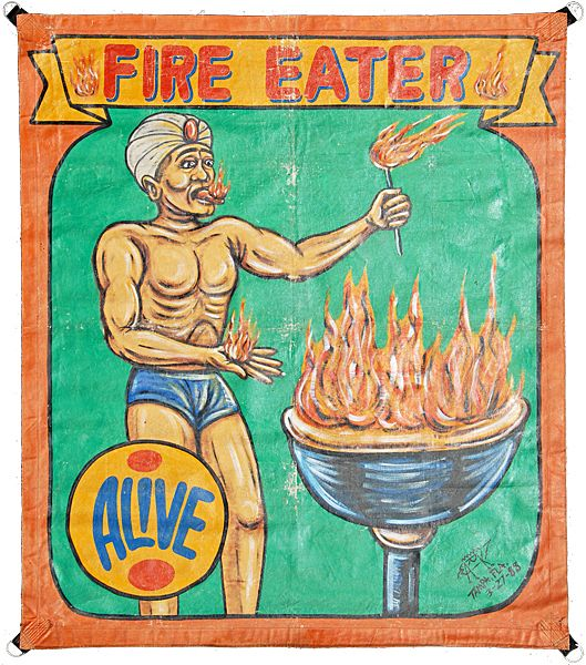 HAND PAINTED CIRCUS SIDESHOW BANNER FIRE EATER