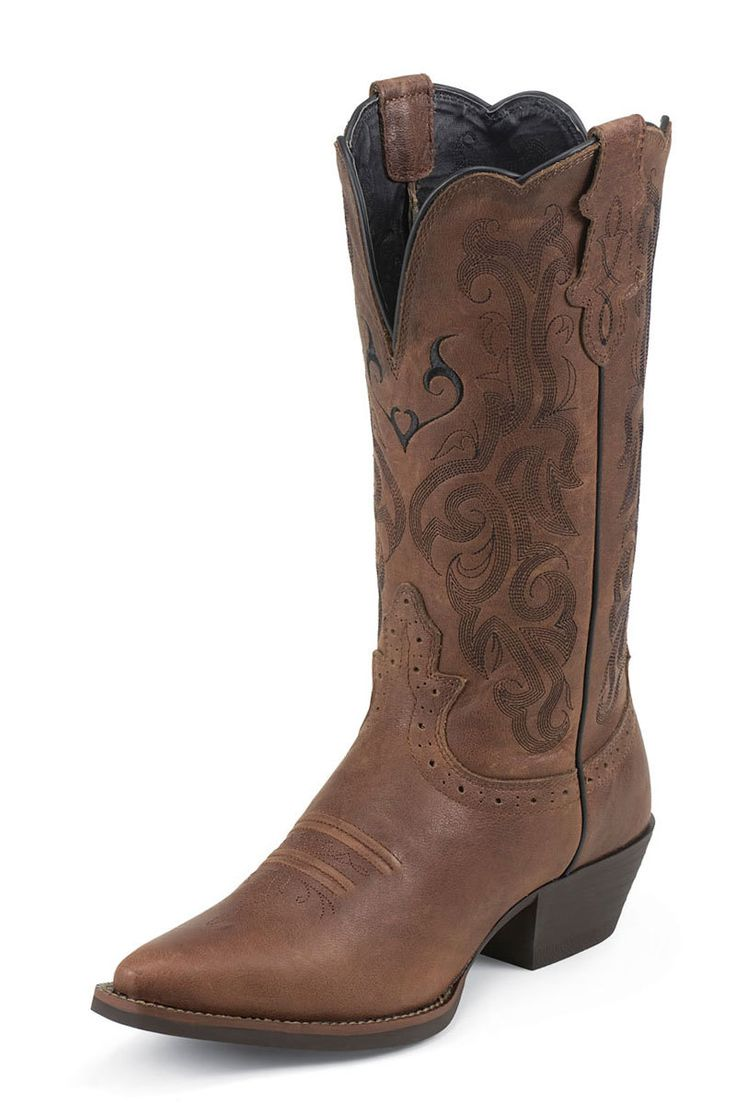 Justin Women's Dark Brown Mustang Western Cowgirl Boots
