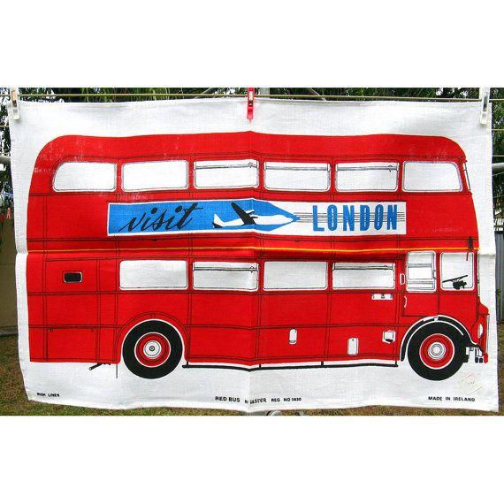 Vintage London Double Decker Bus Souvenir Tea Towel Ulster Linen Unused