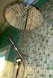 Mosaic style green, glass tile.  Tuscan, and Mediterranean style bathroom.