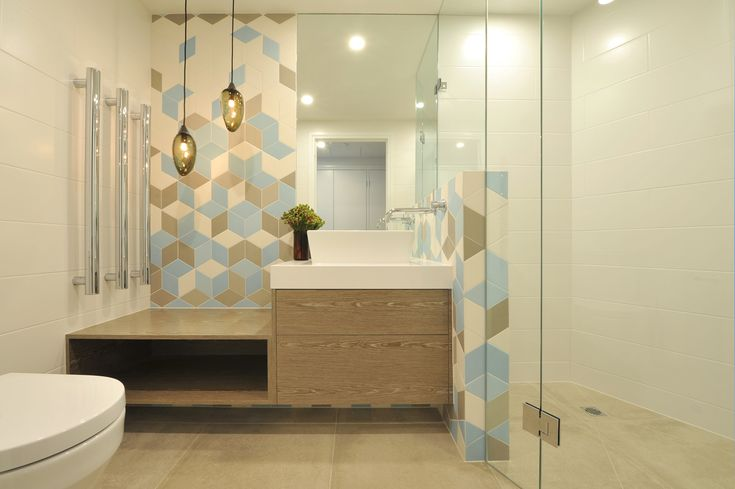 eat.bathe.live :: bathroom design within the southbank residence designed by eat.bathe.live. Features Mutina Tex tiles and Mark Douglass hand blown glass pendants