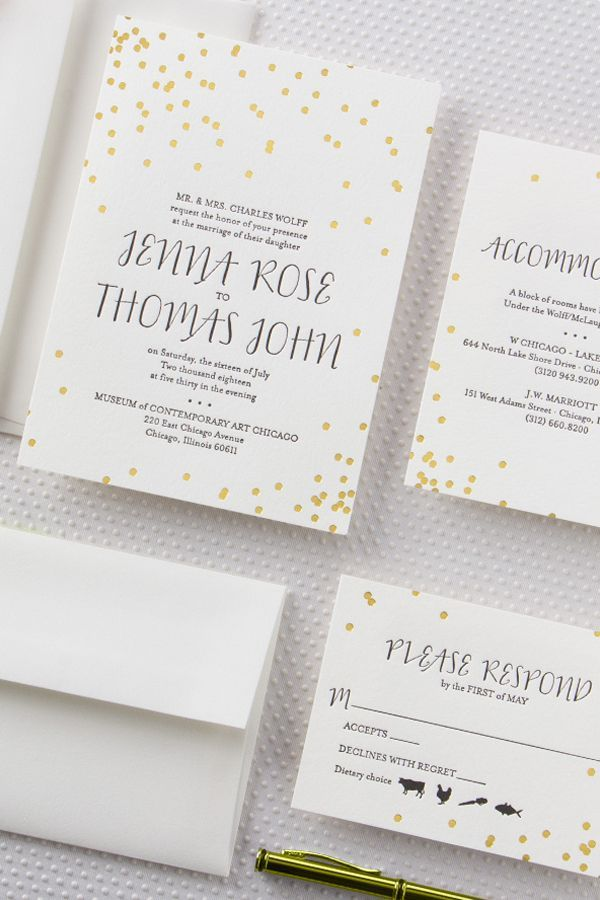 Elegant foil and letterpress wedding invitation suite to complement you big day!