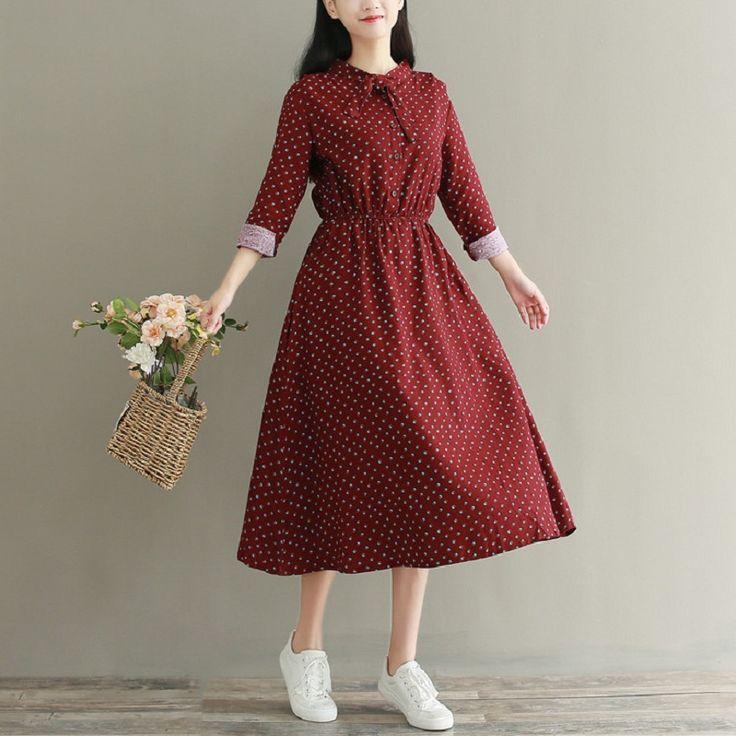 Мори девушка осень-весна Макси длинное платье со стоячим воротником с цветочным принтом женские свадебные платья из хлопка и льна Повседневное свободные Женское платье M-2XL