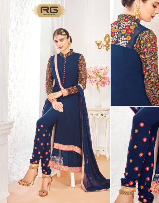 Navy Blue Front Cut Suit With Floral Embroidery || RG Designers