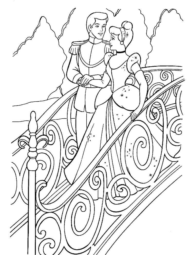 Cinderella And Prince Walk On The Bridge Coloring Pages