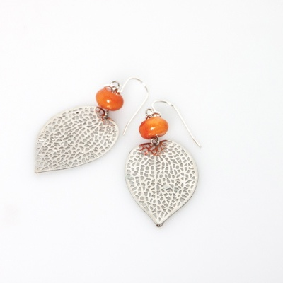 Silver leaf Earrings with coral stone - blossomhandmade.co.za