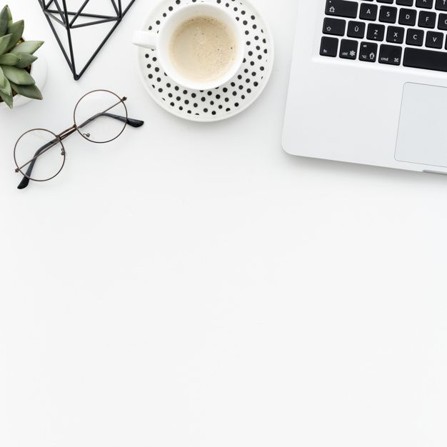 Download Top View Desk With Laptop And Coffee For Free Desk Top View Minimalist Desk Powerpoint Background Design