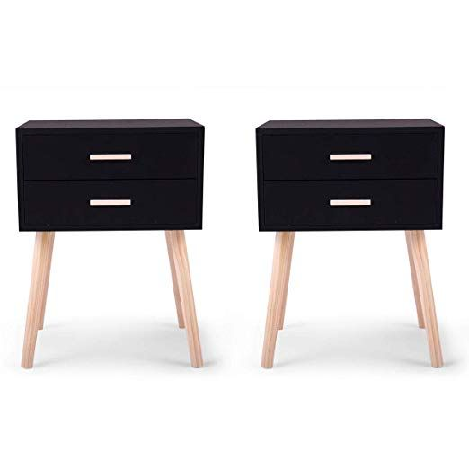 Amazon Com Jaxpety Set Of 2 Side End Table Nightstand W 2 Drawers Storage Black Gateway Nightstand Storage Drawers Drawers Design Cheap nightstands set of 2