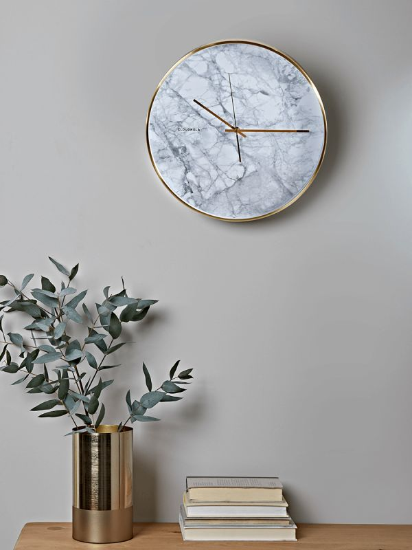White Marble & Brass Clock
