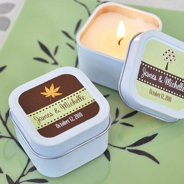 Personalized Fall Candle Favor Tins #fall #wedding #favor