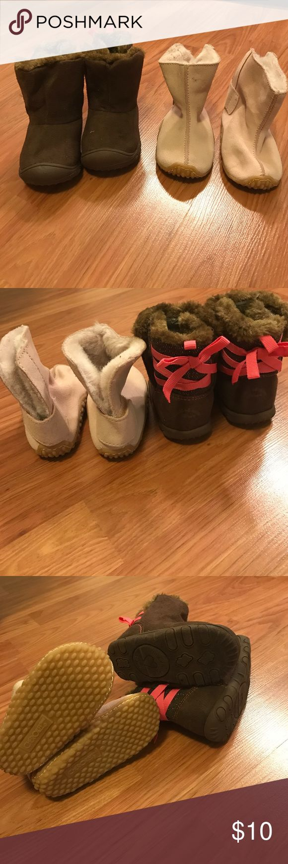 Two sets of toddler boots. Size 4 Pair of dark brown boots with faux fur and pink ribbon accents up the back. Double sided Velcro openings for easy access. Light pink/ mauve boots with light faux fur interior. Velcro strip around back for easy on and off. Shoes Boots