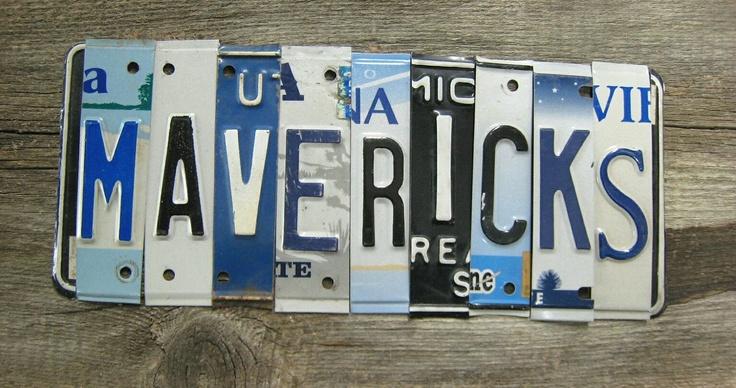 OOAK Dallas Mavericks basketbal NBA sports upcycled license plate art sign blue white silver tomboyART tomboy. $165.00, via Etsy.