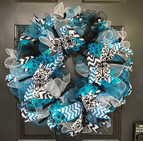 Deco Mesh Everyday Wreath, Deco Mesh Door Decor, Everyday Door Decor, Everyday Door, Deco Mesh Door, Everyday Wreath, Turquoise Black and White Wreath, Turquoise Wreath, Everyday Turquoise, Black White and Blue Wreath, Welcome Wreath, Welcome Door Decor, Welcome Deco Mesh Wreath,
