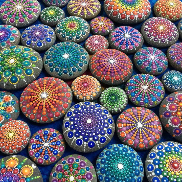 Mandala stone collection by Elspeth McLean #rockart #paintedstones #elspethmclean #dotillism #mandala