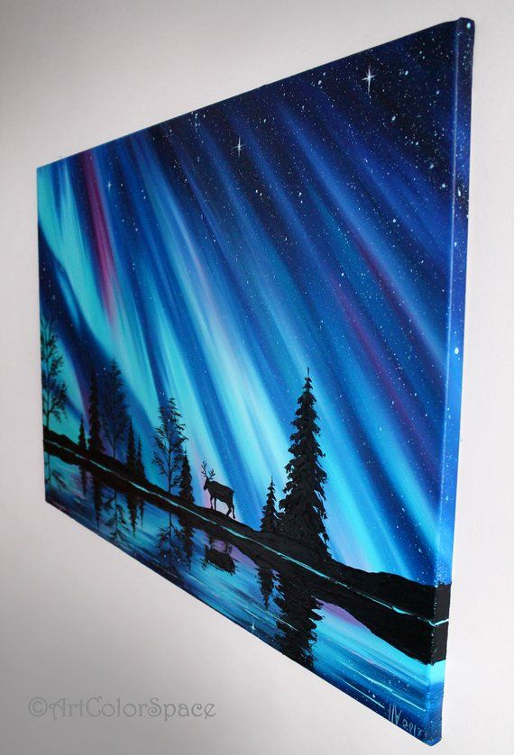 Aurora borealis art Northern lights Norway Landscape painting on canvas Iceland art Northern lights Large wall art