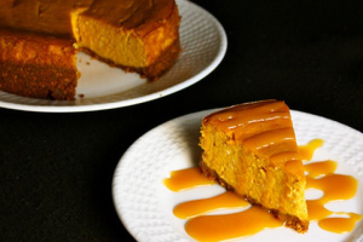 Spiced Pumpkin Cheesecake with Spicy Caramel Sauce Recipe
