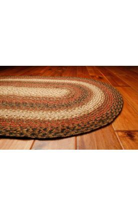 Homespice Decor Green World Braided RS Russet Rug