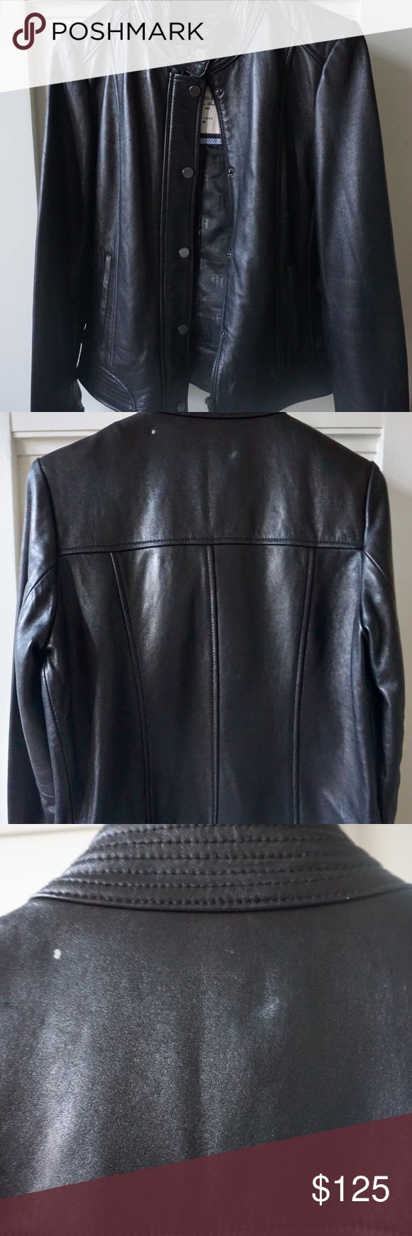 🖤✨ black Tommy Hilfiger leather jacket Beautiful Classic American TH black leather jacket for sale!  • 100% LEATHER • 100% Polyester lining  • size Medium • color Black • lightly used worn only a few times • front has pockets  • can be zipped up and/or buttoned up • VERY small white stains on front right side and on top of the back (as seen in picture) Tommy Hilfiger Jackets & Coats