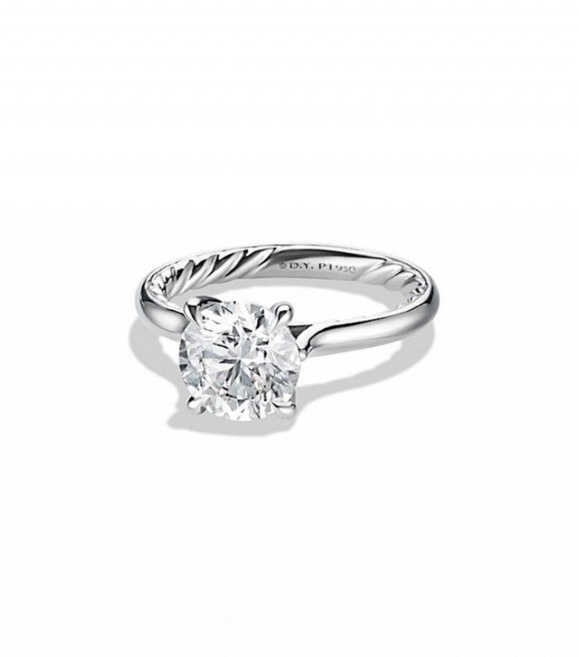 David Yurman DY Classic Solitaire Engagement Ring in Platinum, Round