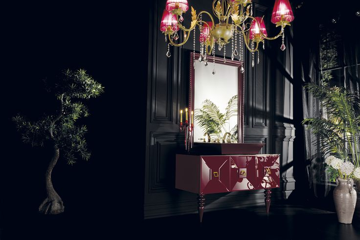 Topex Armadi Art Burgundy Glass Fiaba Bath Vanity From Our Avantgarde Collection!
