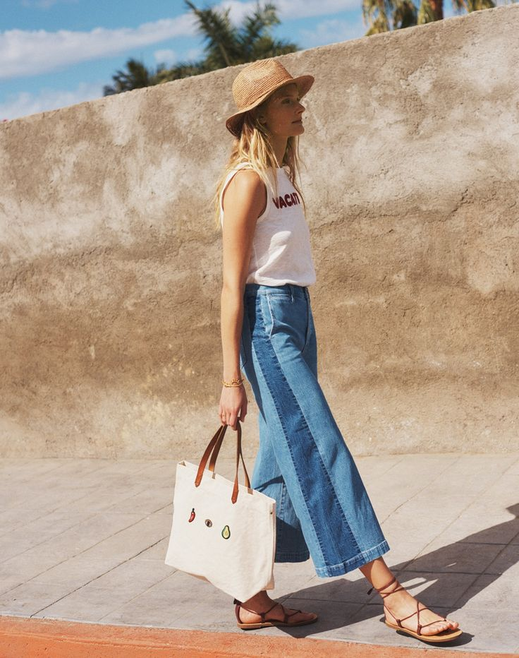 madewell wide-leg crop jeans worn with the embroidered vacation tank + canvas transport tote.