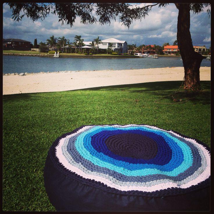 Crochet pouf using home made tshirt yarn. Fun project #favecolour
