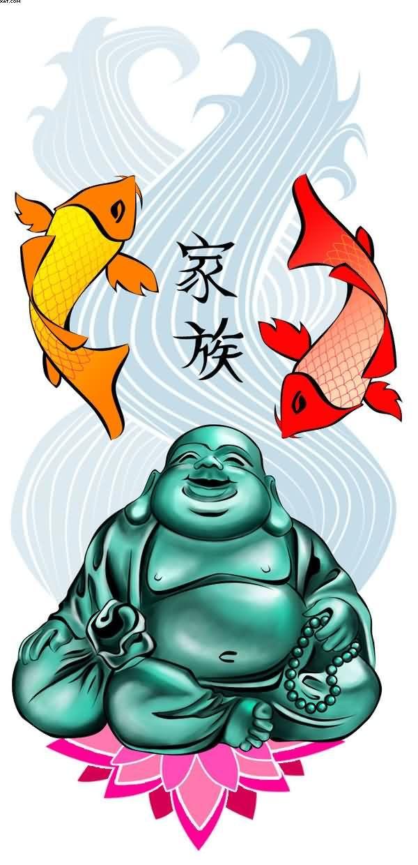 Fat Buddha Fishes Tattoo Design