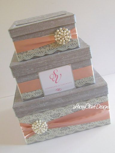 Wedding Gift Box Card Box Money Holder   by LaceyClaireDesigns,