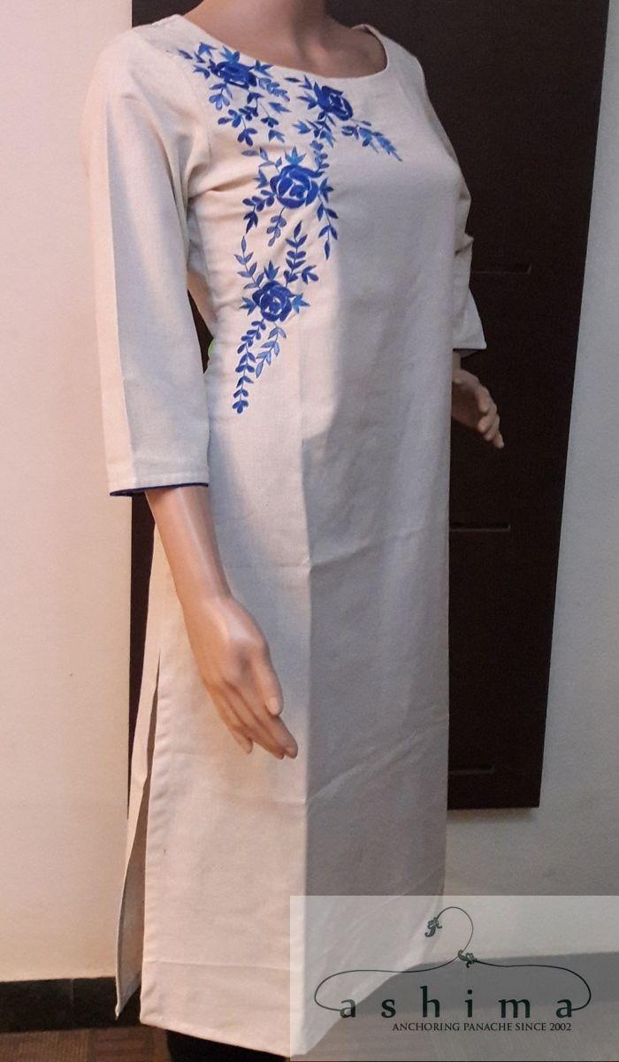 Code:0606179 - Price INR:2550/- , Hand Embroidered kurti.