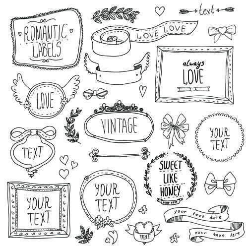 Hand drawn romantic frame with ornaments elements vector 01