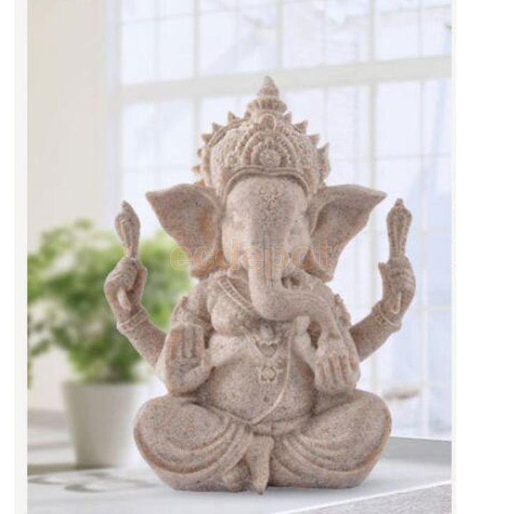 Hand-Carved Sandstone Ganesh Statue