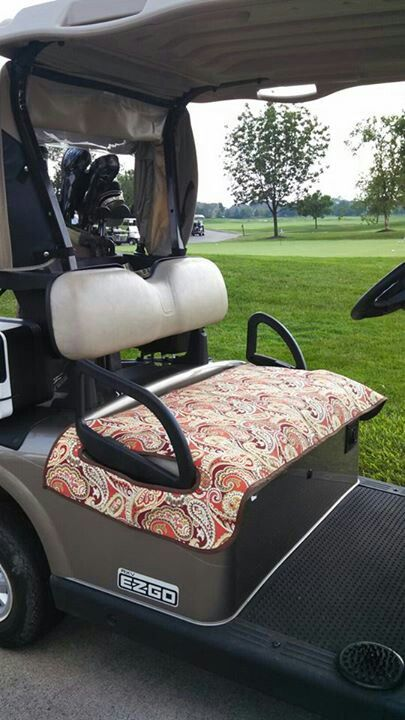 Golf cart seat covers. Made from outdoor fabrics. Reversible.